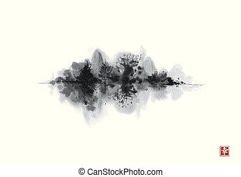 île, arbres., oriental, -, peinture, noir, traditionnel, hiéroglyphe, encre, happiness., sumi-e, u-sin, go-hua., forêt brumeuse