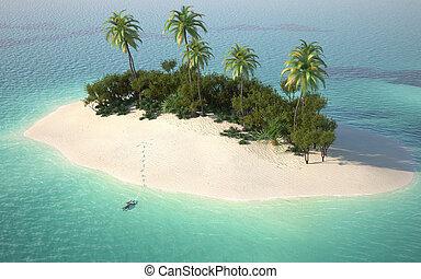 île désert, vue, aérien, caribbeanl