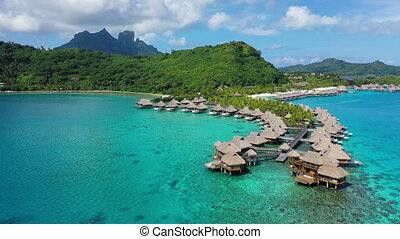 île, exotique, overwater, pavillons, vidéo, aérien, vacances, bora, paradis