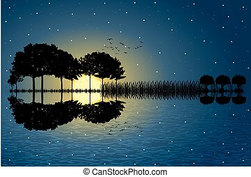 île, guitare, clair lune