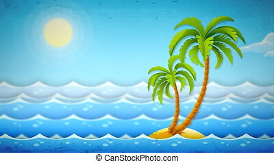 île, paumes mer, vagues