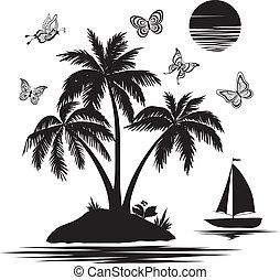 île, silhouettes, papillons, bateau, paume