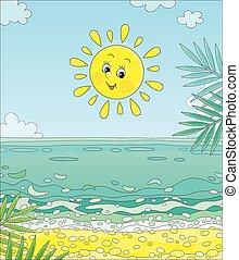 île, soleil souriant, exotique, sur