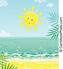 île, soleil, sourire, exotique, sur