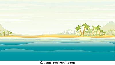 île tropicale, palmiers