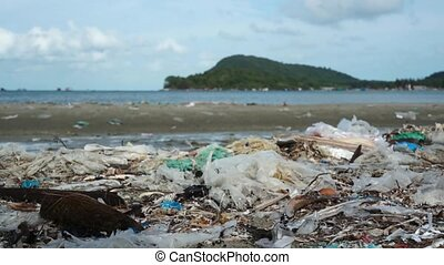 île tropicale, plage, pollution