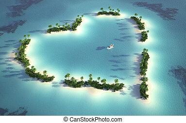 île, vue, aérien, forme coeur
