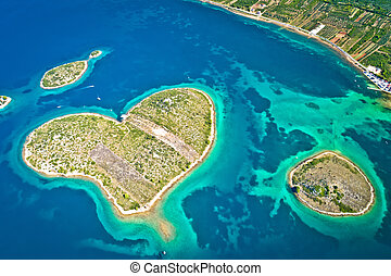 île, zadar, galesnjak, archipel, vue aérienne, formé, coeur