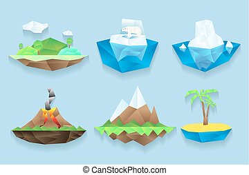 îles, vecteur, ensemble, poly