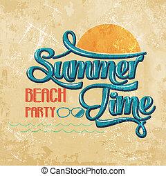 """-, écriture, plage, temps, calligraphic, party"""", """"summer"""