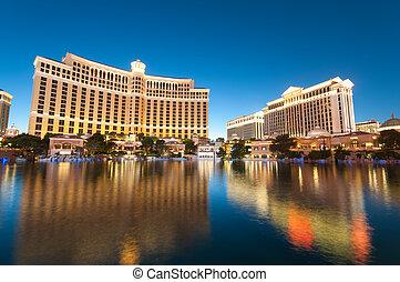 -, 2010, 11, coucher soleil, casino, pendant, las, sep, hôtel, vegas, bellagio