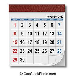 -, 2020, renderig, sommet, 3d, vue, calendrier, novembre, simple
