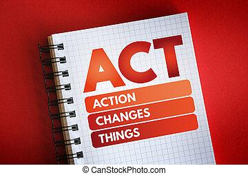 -, acte, changements, acronyme, choses, action