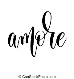 -, amore, inscription, noir, blanc, main, lettrage, mariage