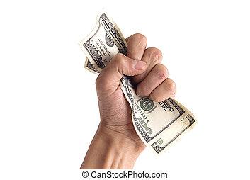 -, argent, concept, financier, main