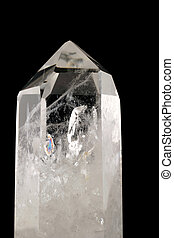 -, arrière-plan noir, cristal, quartz