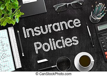 -, assurance, rendering., texte, noir, chalkboard., policies, 3d