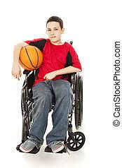 -, athlète, jeune, incapacité
