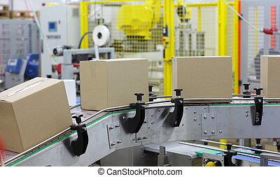 -, automation, ceinture, boîtes, convoyeur