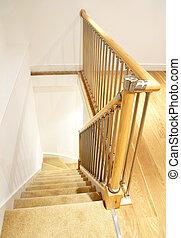 -, balustrade, maison, intérieur, escalier, chrome, moderne