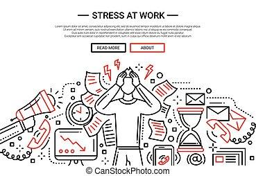 -, bannière, conception, site web, tension, ligne, travail, plat
