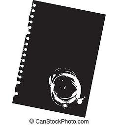 -, bloc-notes, haut, illustration, papier, taches, vide, fin