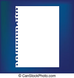 -, bloc-notes, haut, illustration, papier, vide, fin