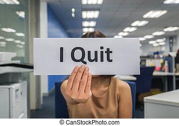 -, bureau, business, papier, prise, quitter, concept, femme