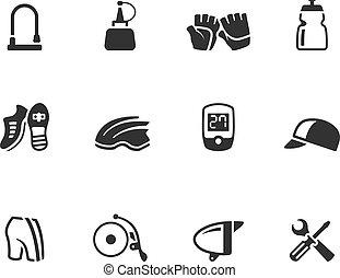 -, bw, accessoires, vélo, icônes