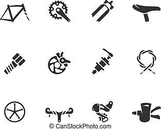 -, bw, vélo, icônes, parties