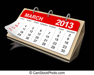 -, calendrier, 2013, mars