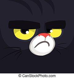 -, carrée, cat., avatar, noir, monstre, carte, icon., dessin animé, sorcière, chat, face., ou, halloween, mignon, illustration.