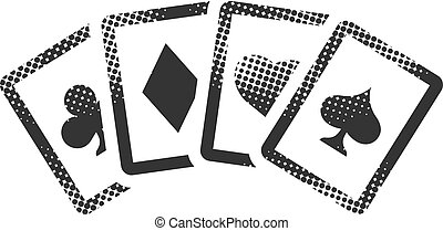 -, carte, football, halftone, icône