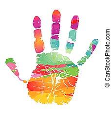 -, coloré, handprint, llustration