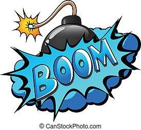-, comique, explosion, expression, boom