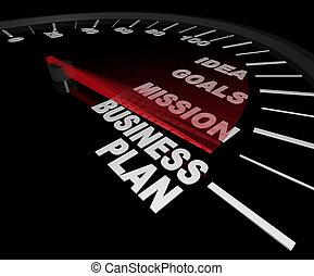 -, compteur vitesse, plan, business