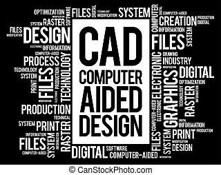 -, conception, cao, aidé, informatique, mot, nuage