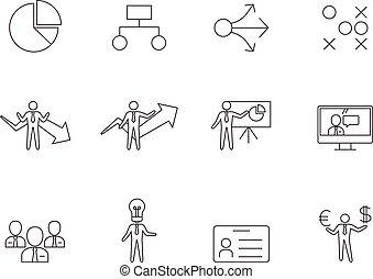-, contour, icones affaires
