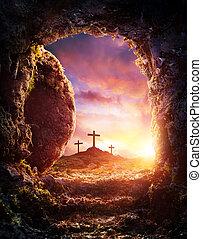 -, crucifixion, vide, résurrection, tombe, christ, jésus