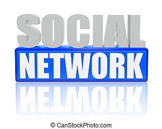 -, cubes, lettres, réseau, social