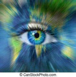 """-, dépassement, barbouillage, ceci, image, mouvement, oeil, la terre, temps, """"elements, bleu, nasa"""", humain, concept, planète, meublé"""