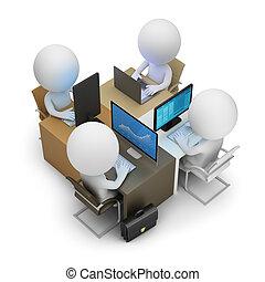 -, développement, gens, petit, équipe, 3d