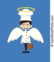 -, dessin animé, déguisement, ange, chef cuistot