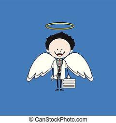 -, dessin animé, déguisement, ange, docteur