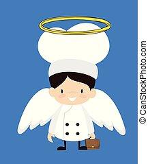 -, dessin animé, déguisement, ange, mignon, chef cuistot