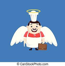 -, dessin animé, déguisement, graisse, rigolote, ange, cuisinier