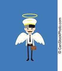 -, dessin animé, déguisement, pilote, ange, steward