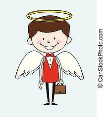 -, dessin animé, déguisement, serveur, ange, traiteur