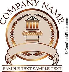 -, droit & loi, ionique, ou, joint or, colonne, colonnade, avocat