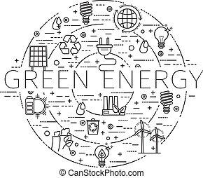 -, eco, énergie, icônes, ensemble, recycler, contour, vert
